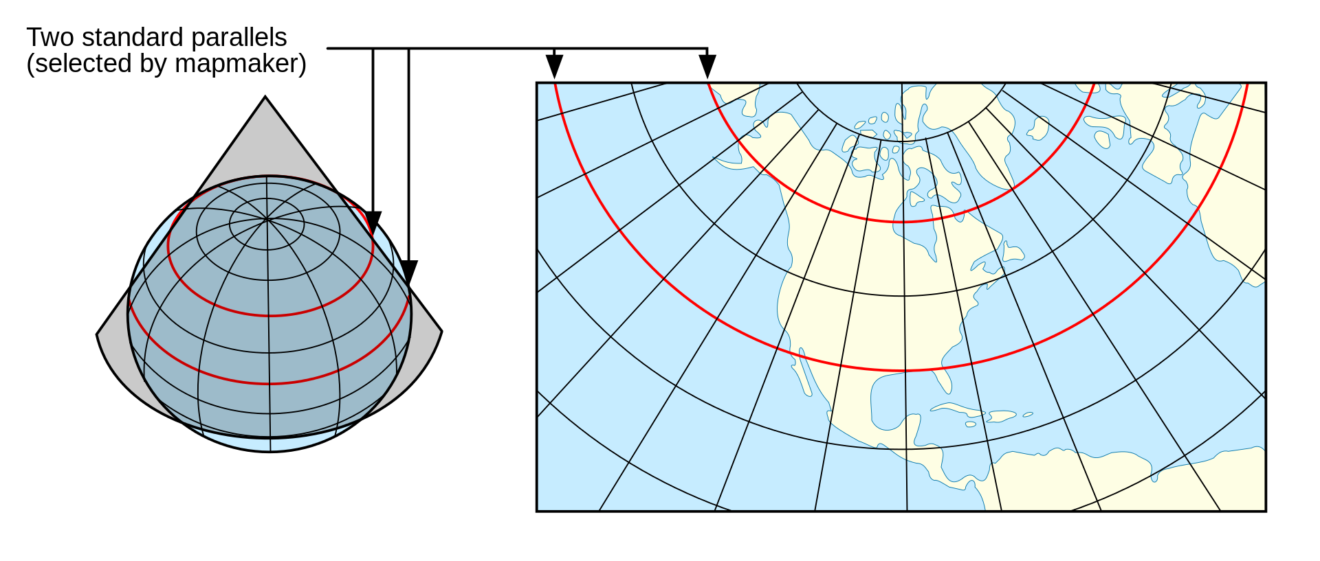 cartographie du monde Lambert
