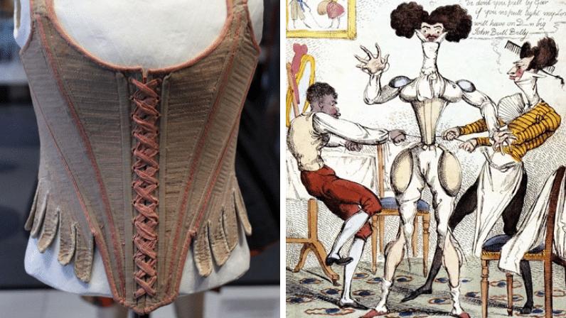 gravure corset mode souffrance