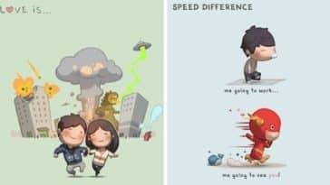 être amoureux illustrations amusantes