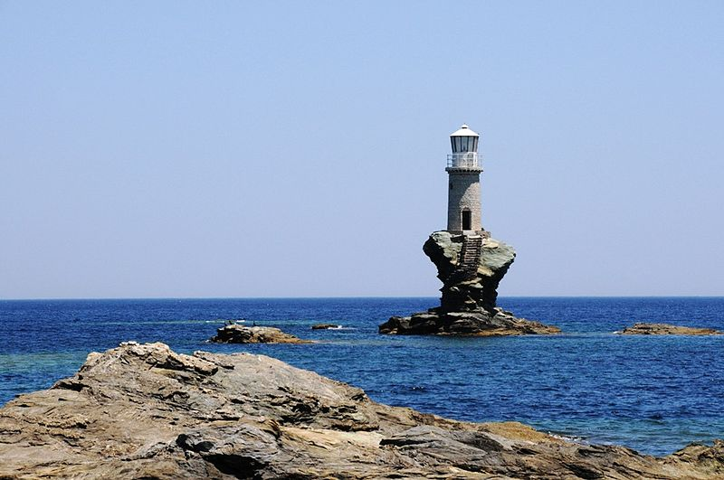 phare d'Andros en Grèce mer photos de phares