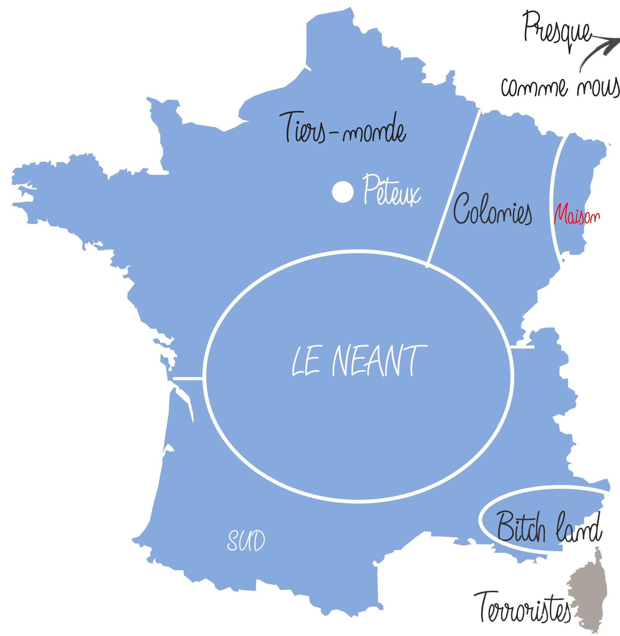 réputation des français par région de France carte vue par les alsaciens