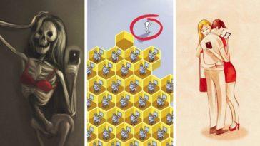 dessins satiriques dérives du smartphone illustrations