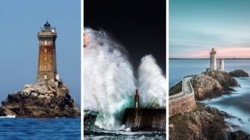 photos de phares dans la tempête et calme