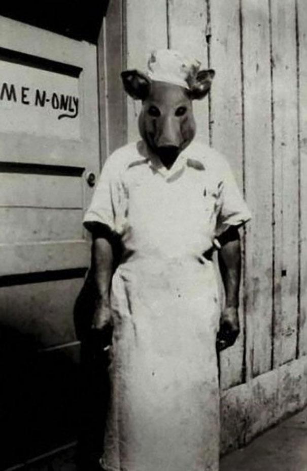déguisement ancien cochon boucher faire peur
