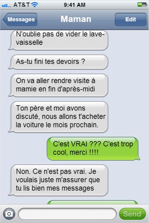 SMS de parents humour