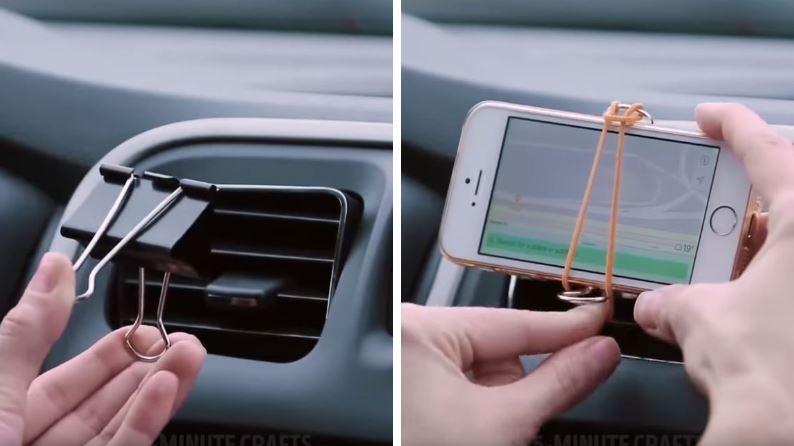astuces voiture porte smartphone élastique