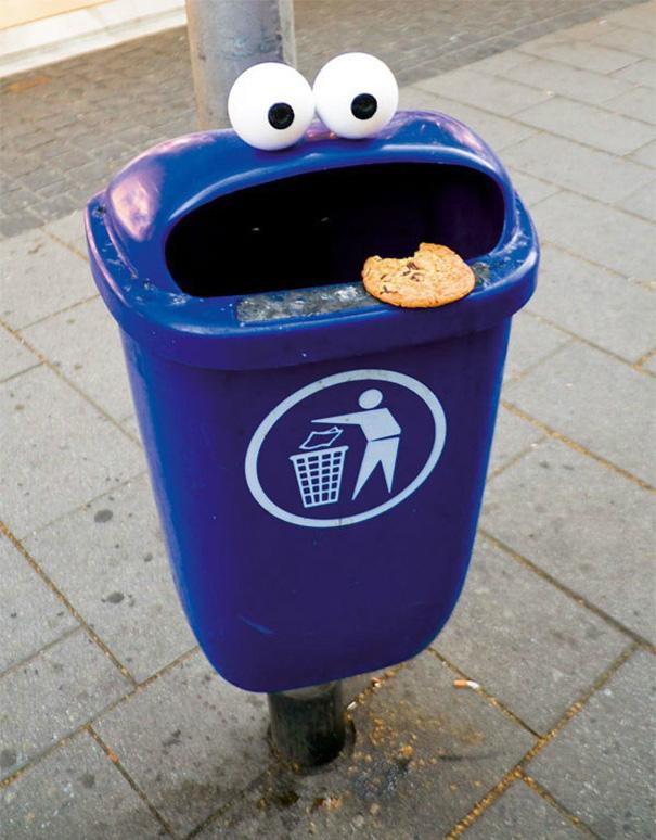 acte de vandalisme urbain géniaux poubelle cookie monster
