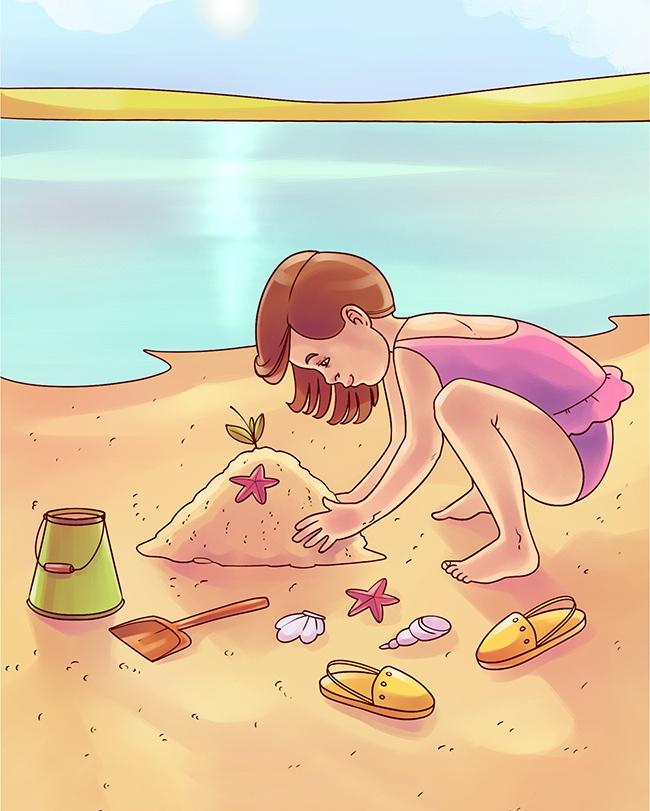 petite fille sable dessin