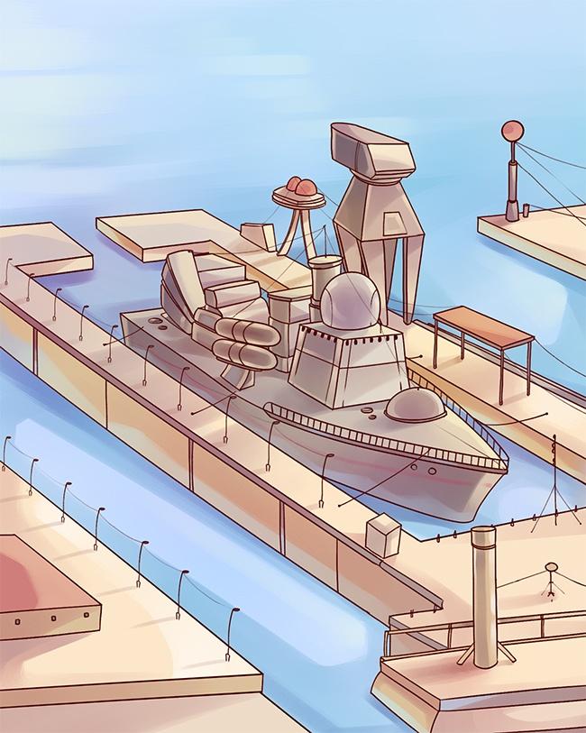 dessin port industriel bateau cargo
