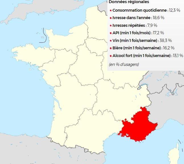 carte de la France statistiques en fonction de la consommation alcool