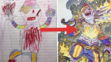 père dessins enfants transformés en personnages de manga