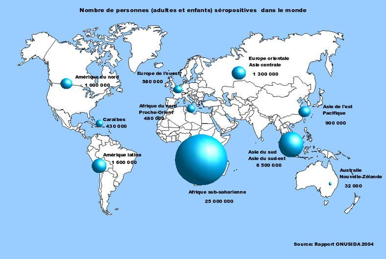 sida virus maladie carte du monde