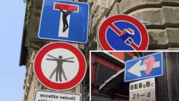 panneaux signalisation code de la route street art Clet Abraham
