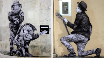 street art urbain paris ville Levalet collages graffiti encre de chine