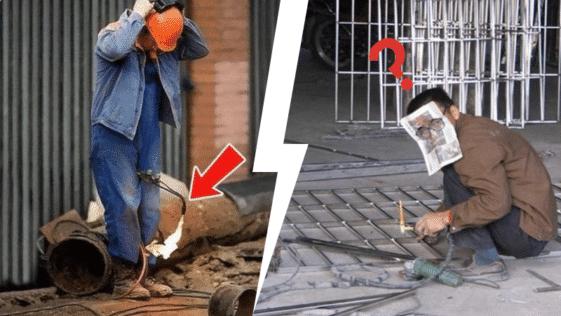 ouvriers travailleurs inconscients insouciants normes de sécurités fous dangereux