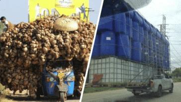 véhicules surchargés cargaisons insolites