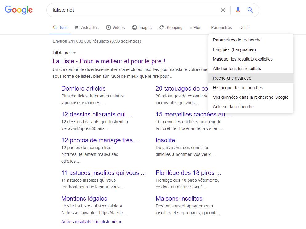 Astuces google recherches avancées Google