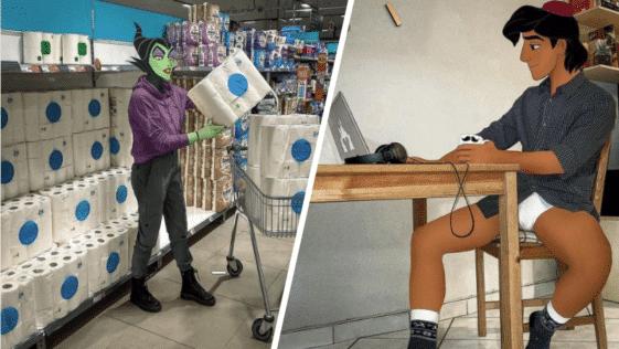 Disney monde univers héros personnages coronavirus Covid-19 confinement couvre-feu
