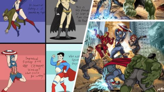 pose posture super-héros héroïnes stéréotypes genre sexe