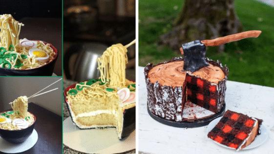 gâteaux trompe-l'œil illusions réalistes pâtisseries