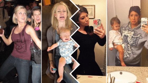 photos avant/après parents arrivées maman papa mère père enfant bébé famille